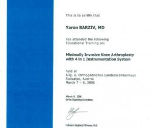 "MIS-TKR-2006 -  תעודת הסמכה 2005 - ד""ר בר זיו - אורתופד"