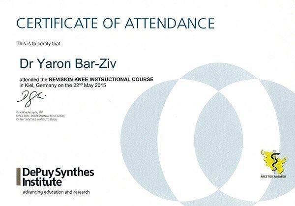 CERTIFICATE OF ATTENDANCE - DR. YARON BAR ZIV